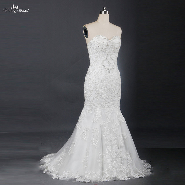 High Quality Ready Made Lace Mermaid Wedding Dress In Stock Rsw707