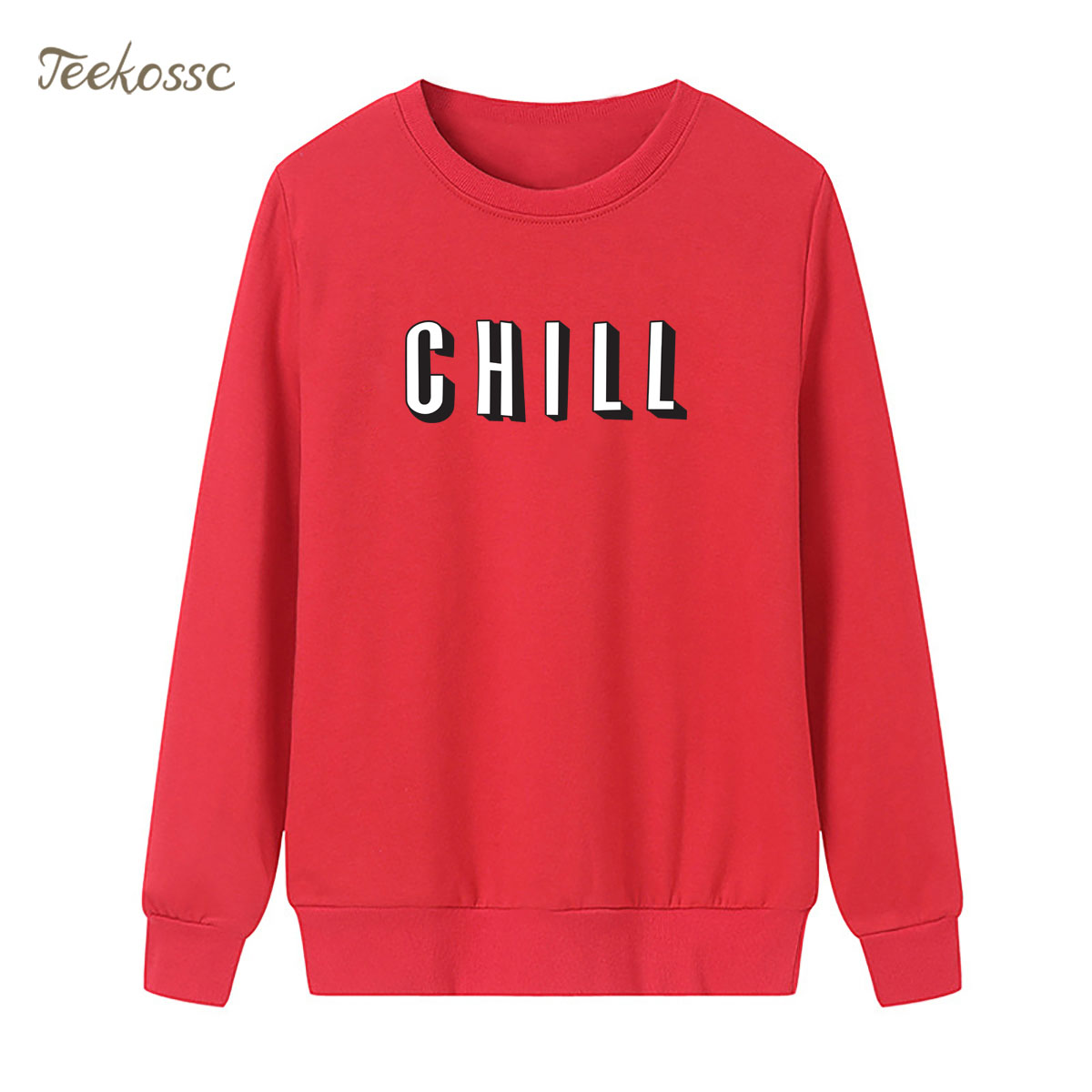 Solid Red Brief Letters Sweatshirt Hoodie Winter Autumn Women Lasdies Loose Long Sleeve Crew Neck Pullover Fleece Streetwear