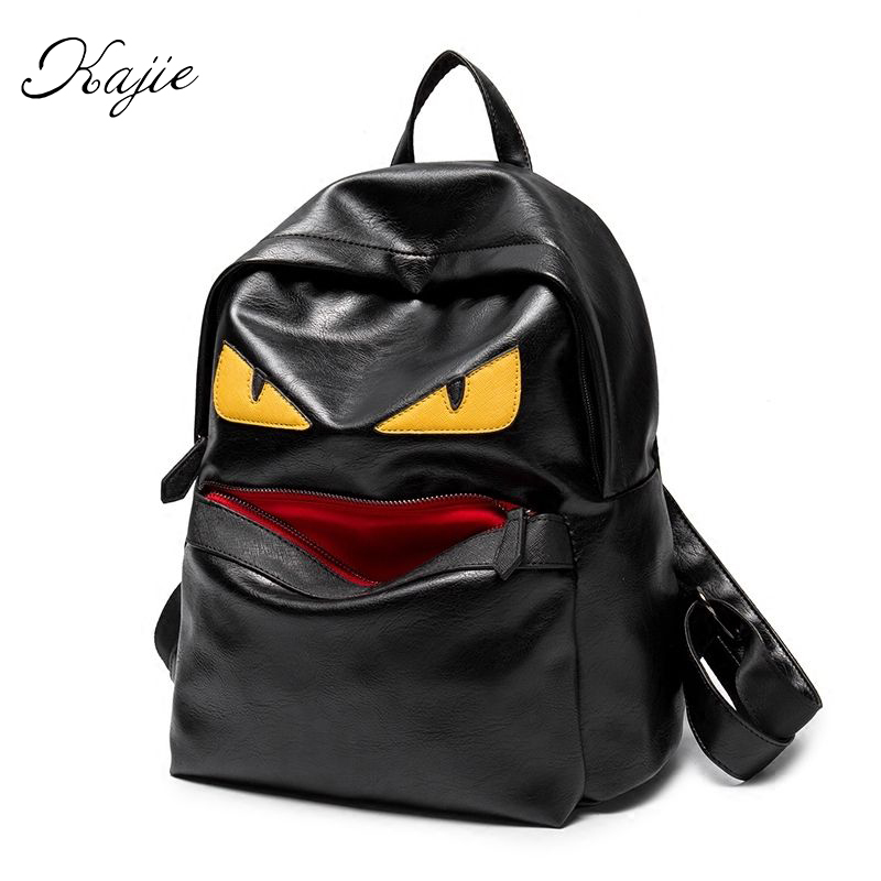 ФОТО Kajie Classical Design Men Little Monster Travel Backpack Casual School Bags For Teenagers High Quality Women Bookbag Bagpack