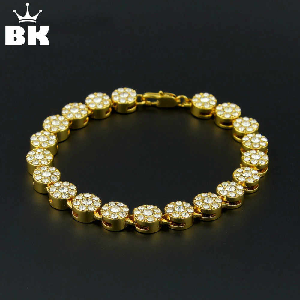 Gold Palted Bling Bling Hip Hop Bracelet 1 Row Round Iced Out Cz Bracelet Top Fashion Mens Jewelry