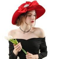 Royal Red Ladies Fedora Weddings Hats Floral Elegant Women Black Big Brim Church Fedoras Party Dress Sinamay Hat M27