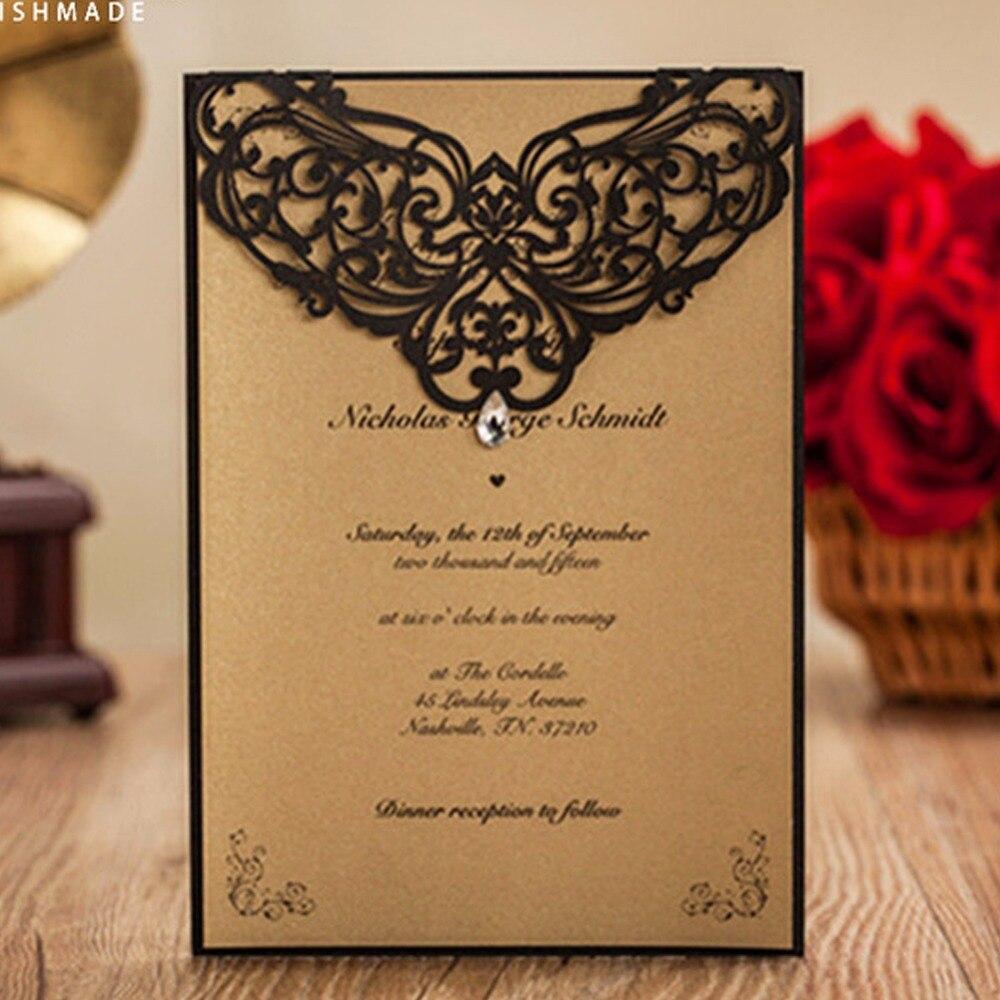 Dark Blue Wedding Invitations: 50Pcs Tiffany Blue &Dark Blue Pearl Paper Wedding
