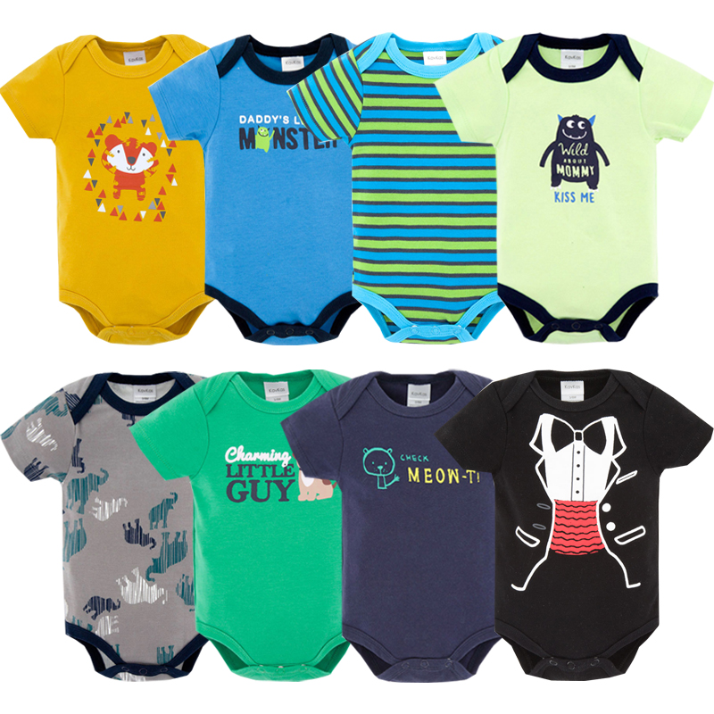 Eight Piece summer baby clothes short sleeve cotton uniesx cartoon baby jumpsuit newborn boy baby clothing bobo choses rompers 2018 summer style baby rompers newborn baby boy girl clothes infant clothing blue and red short sleeve cartoon printing jumpsuit