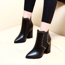 New Women Ankle Boots High Heel Spring Autumn Black Boots Solid Zip With Rivets Soft Leather Sexy Ladies Shoes CH-A0007 все цены