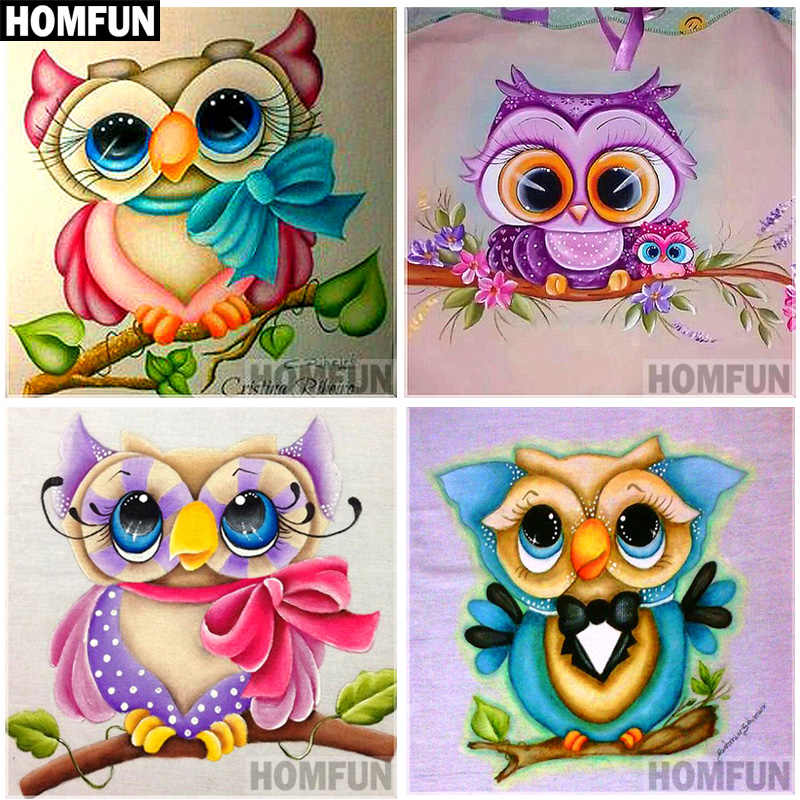 "HOMFUN 5D DIY Diamond Painting Full Square/Round Drill ""Cartoon owl"" 3D Embroidery Cross Stitch gift Home Decor Gift A06818"