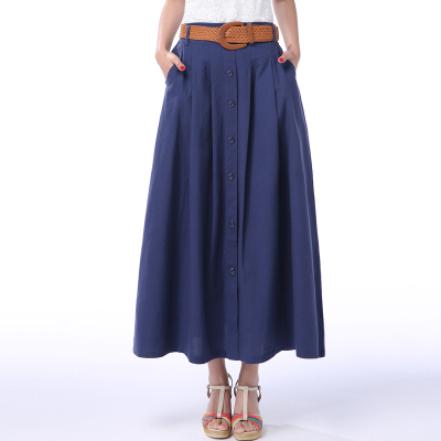 2018 Spring and Summer womens casual cotton skirts, Clothing long linen skirts,candy color loose pleated skirts Y0619-99D