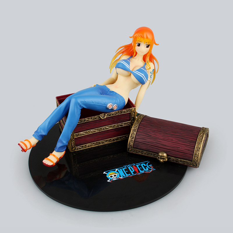 ФОТО Anime One Piece P.O.P Nami on the Treasure Box PVC Action Figure Collectible  Model Toy 19.5cm KT2844