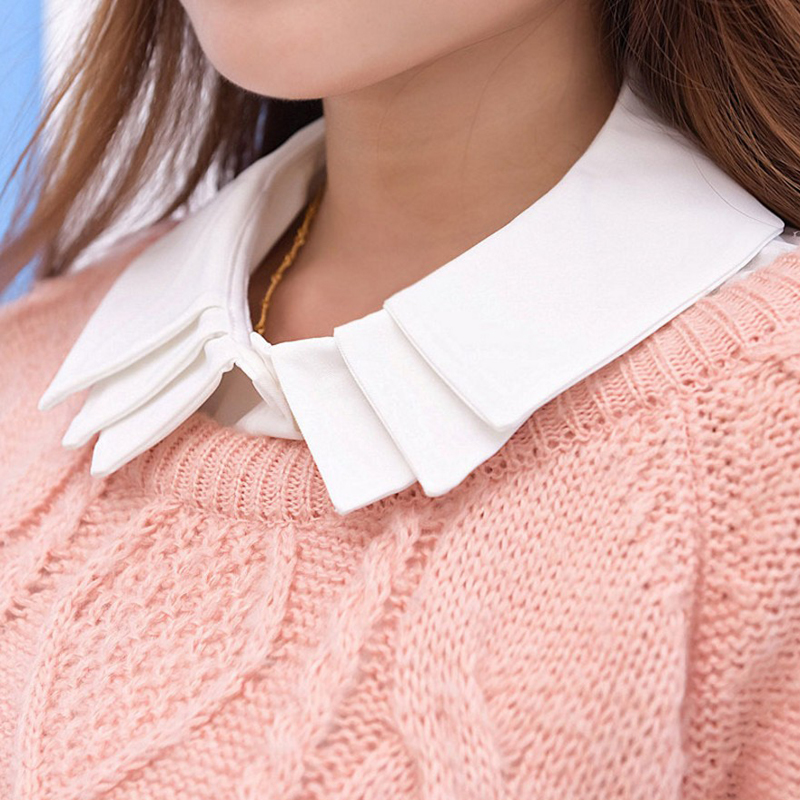 YSMILE Y High Quality Sweet Cute Removable Shirt Collar Female Sweater Collocation Collar White Multilayer Clothes Accessories