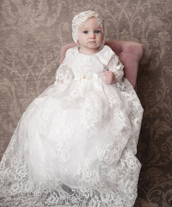 Lace Baptism dress for girls baby girl christening gown long sleeves ...