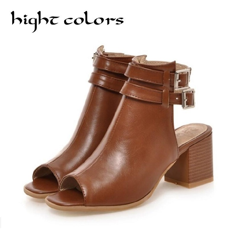2018 New Summer Gladiator Sandals Shoes For Women Thick Heel Cork Open Toe Women Lady Ankle Boot Belt Buckle Women Shoes Pumps  hot selling denim blue ankle strap buckle high heel sandals cut out thick heel gladiator sandals for women summer dress shoes