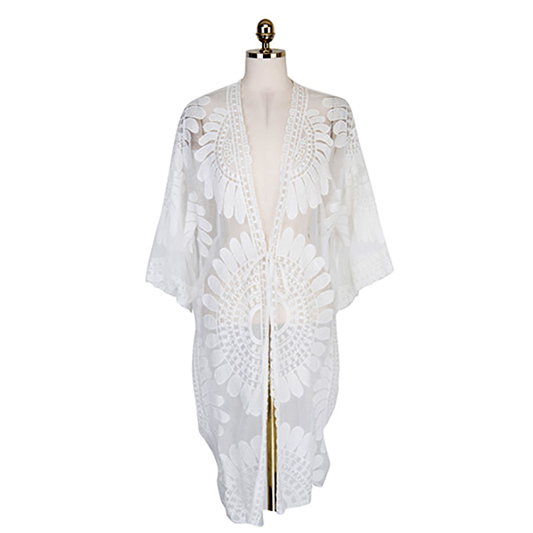 9d08087956a 2017 Plus Size Women Clothing Beach Tunic Women Tops Summer Long Kimono  Lace Cardigan Coat Sunflower White Lace Blouse -in Blouses   Shirts from  Women s ...