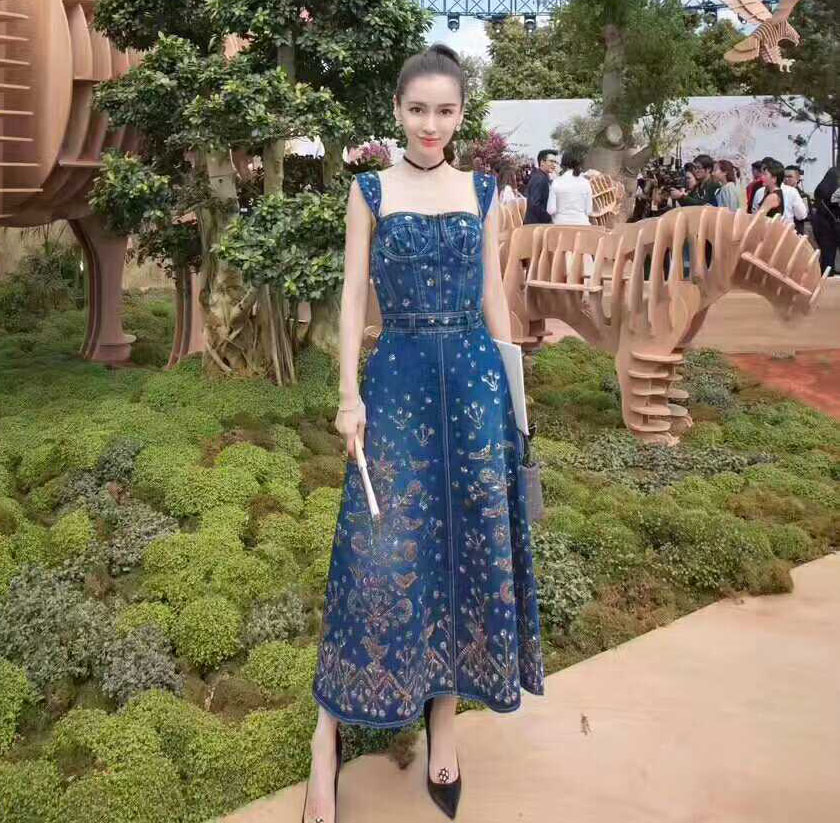 luxury denim dress amazing original 3D embroidery casual long dress 2017 vestidos mujer summer mixi dress sarafans party dresses