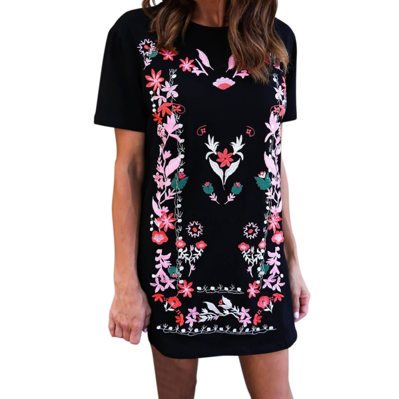 New Arrival 2018 Dress Women Round Neck Short Sleeve Printed Slim Mini Dress Black Casual daily Women Vestidos New Style