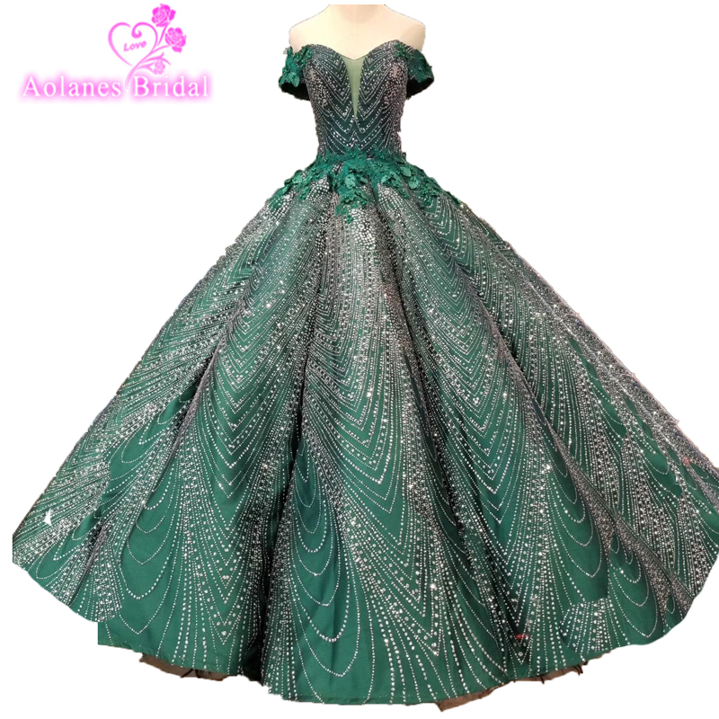 Glitters Blings Blings Luxury Crystal Green   Prom     Dresses   Off The Shoulder Beaded Sequined Ball Gown Formal Evening Party   Dresses
