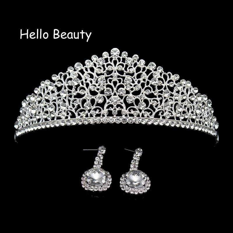 Silver Luxury Big Diamante Wedding Pageant Tiara Rhinestone Crystal Bridal Crown For Princess Bride Bridesmaid Hair Jewelry