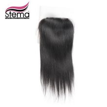Stema Hair Indian Virgin Hair 4X4 Free/Middle Parting Straight Lace Closure Top Closure with Baby Hair Ms lula Hair