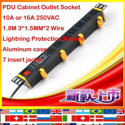 ФОТО Australia European Lightning Protection 7 jack aluminum 1.8m 1.5mm wire 10A 16A 250V PDU socket Cabinet outlet strip