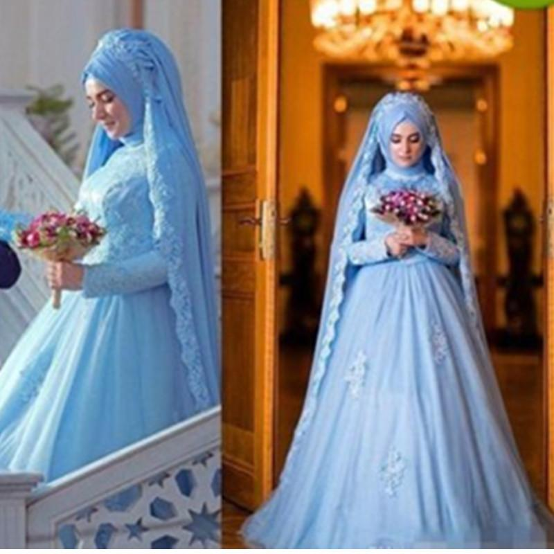 US $151 2 20% OFF 2019 Muslim Wedding Dresses A Line Modest New Sky Blue  Bridal Gowns Full Sleeve Appliques Tulle Castle Custom Made Sweep Train-in