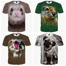 High-quality big boys short-sleeved 3d animal creative personality printing t-shirt boy clothes t-shirt 14-20 years old