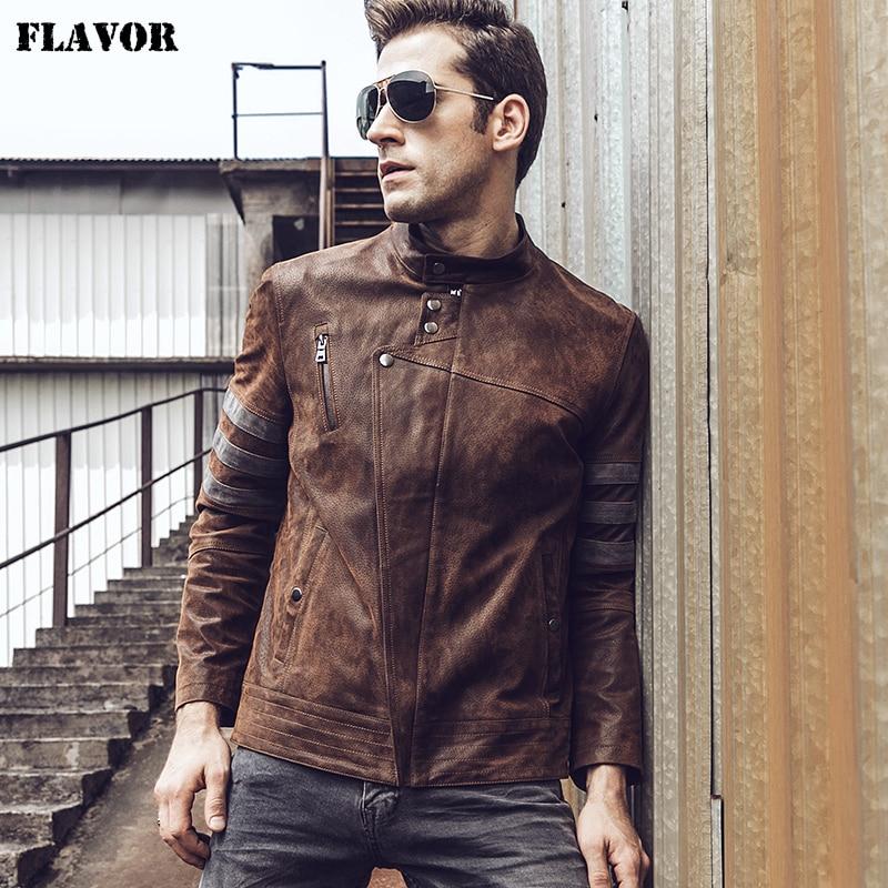 2017 New Men's Motorcycle Coat Real Leather Jacket Autumn Winter Genuine Leather Jacket