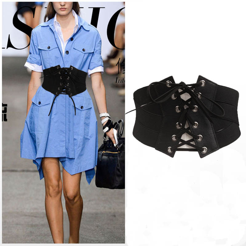 Adofeeno Retro Style Cummerbunds Wide Elastic Cross Zipper Waistband Women Belt For Dress Coat