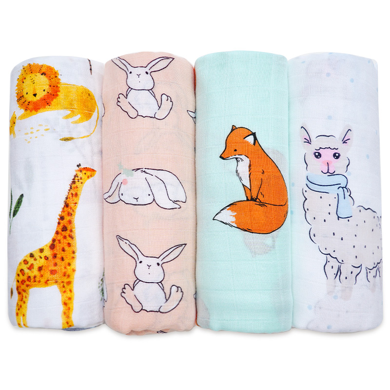 Best Gift For Kids Baby Blanket Soft Cartoon Animal Print Newborn Muslin Swaddle Wrap Cute Baby Bath Towel Mattress Bedding Set