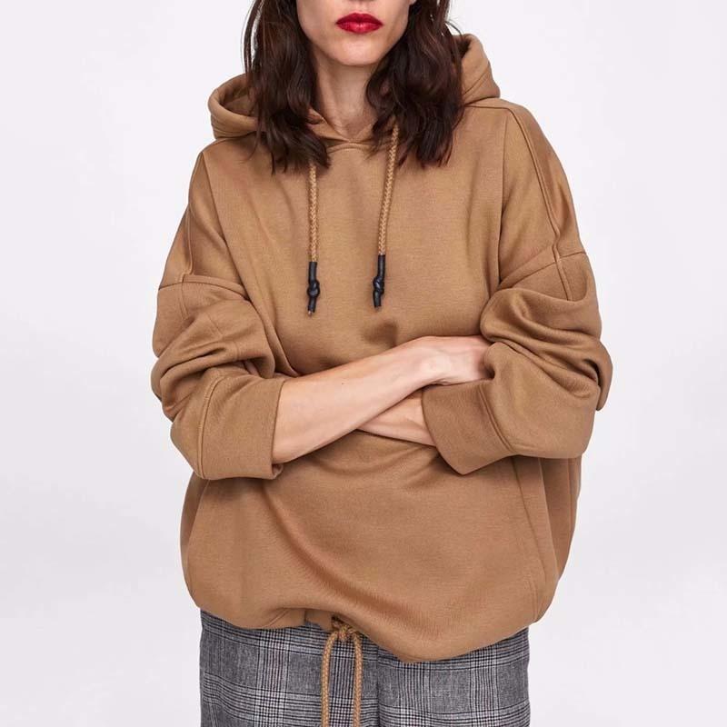 YOCALOR Women Harajuku Cotton Hoodies Solid Patchwork Pockets Regular Oversize Sweatshirt Plus Size Tops Hoodies