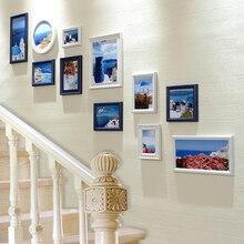 11pcs/set Stairway Photo Frames Wall Creative Simple Style Wall Hanging  Photo Frames Set Stairs