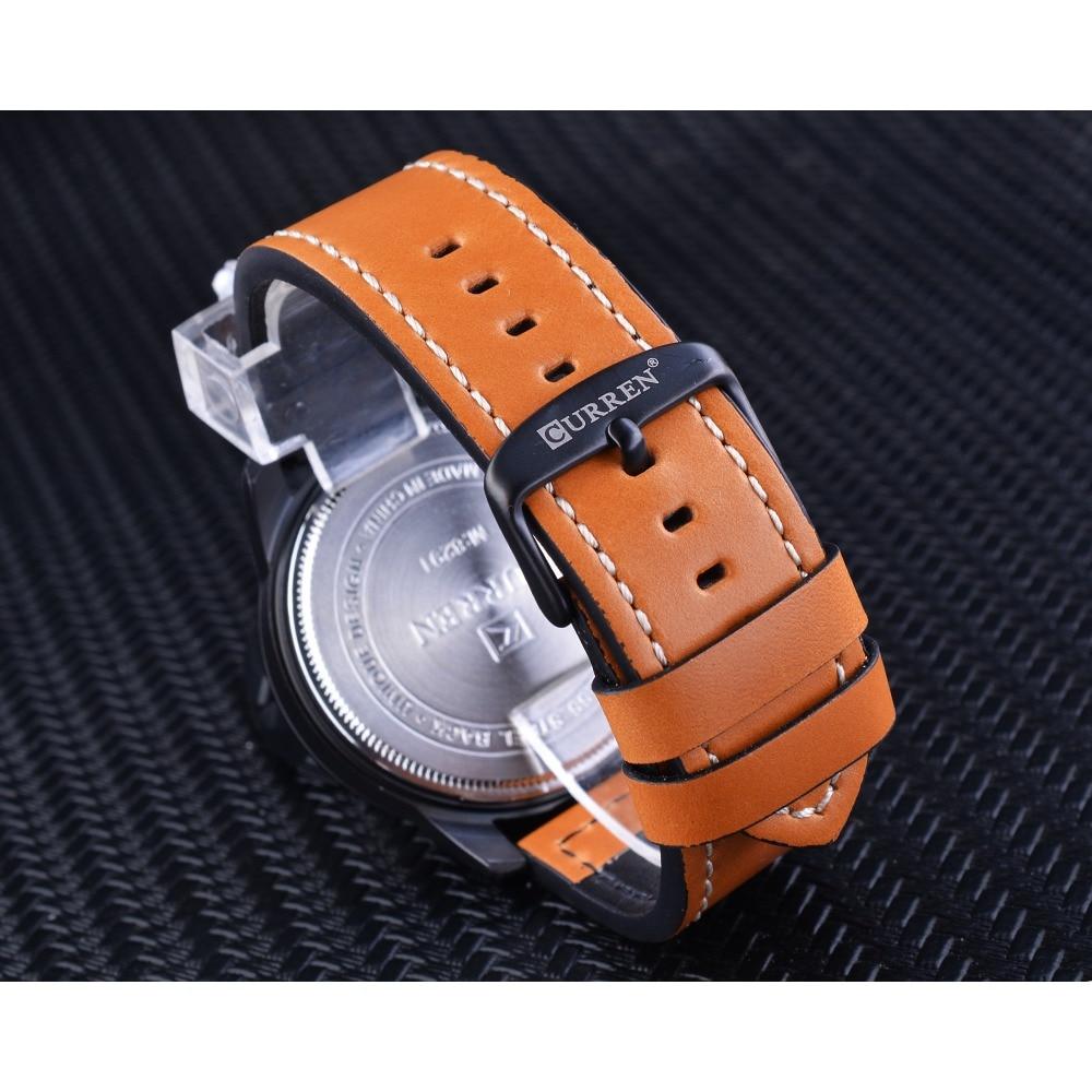 CURREN Blue Fashion 3 Dial Orange Genuine Leather Belt Calendar Display Mens Military Quartz Sport Wrist Watch Top Brand Luxury in Quartz Watches from Watches