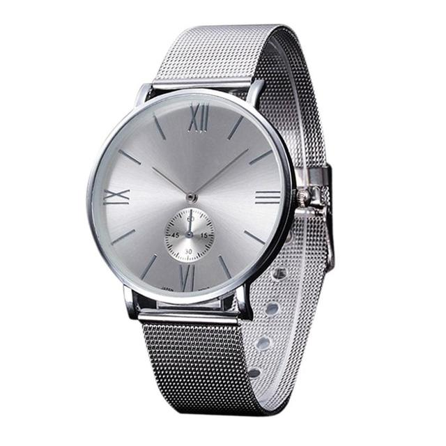 Casual Silver Women Watch Luxury Crystal Stainless Steel Buckle Roman Numbers An