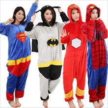 Women men pajamas long-sleeved warm flannel one-piece cute cartoon home clothing hooded jumpsuit 2019 autumn winter new