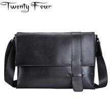 Twenty-four High-quality Real Leather Men Bag Solid Leather Shoulder Bag Men Messenger Bag Vintage Male Business Briefcase Bag