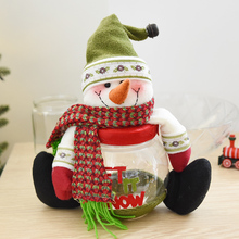 Noble form of snowman elk candy jar snack cookie jar gift box christmas tree decorations plastic candy jar Christmas decoration