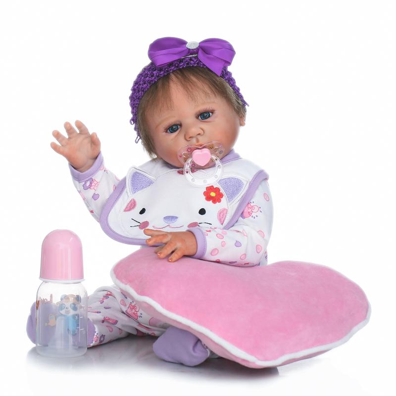 20 Soft Silicone Vinyl Full Body Girl Doll Reborn with Free Magnet Pacifier 55cm Reborn Doll Brinquedo for Girls Birthday Gifts pink wool coat doll clothes with belt for 18 american girl doll