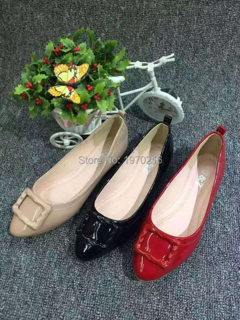 New 2016 fashion Pregnant Women Shoes Work Shoes Flats(Red/Black/Beige)Loafers Slip On Flat Shoes Square buckle boat shoes