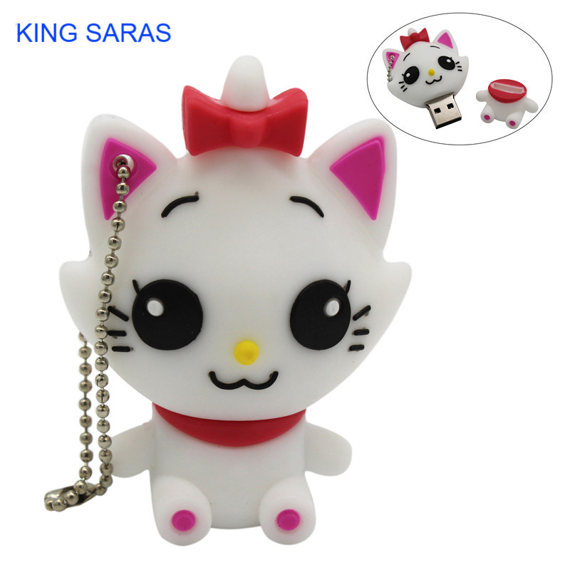 KING SARAS Cartoon Cute Withe Cat Usb Flash Drive  4GB 8GB 16GB 32GB Pendrive U Disk Usb 64GB 2.0 Gift For Girl Love