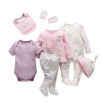 Tender Babies new born baby girl boy clothes seven pieces baby children's clothing set comfortable cotton cartoon infant clothes tender babies baby girl clothing 3pcs set quilted jacquard hooded gilet and legging with rib cuff and soft printed floral t shir