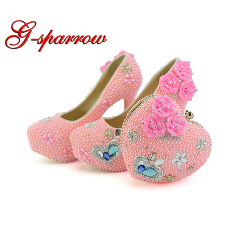 Personalized Wedding Slippers Bridal Party Slippers: 2018 Handmade Diamond Pink Pearl High Heel Wedding Shoes