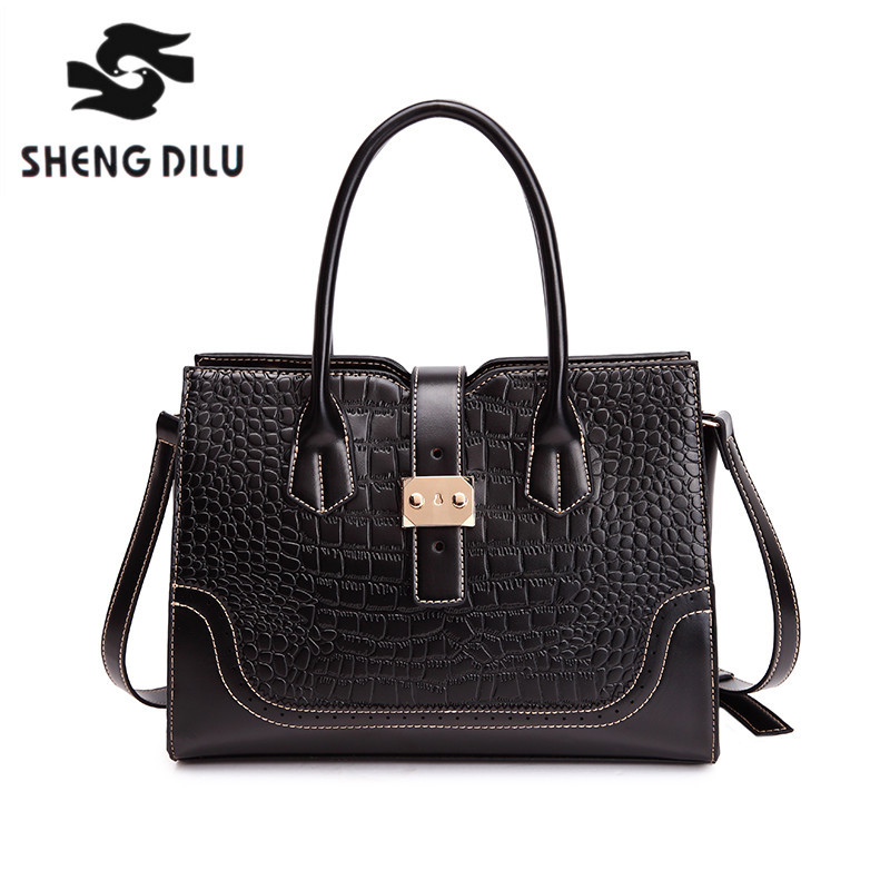 shengdilu brand handbag new 2017 women Simple and noble tote leather shoulder bag free Shipping