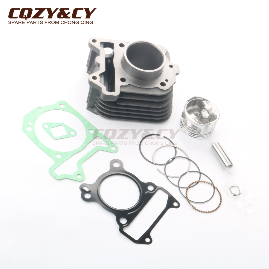 Cylinder Head For Cylinder Piaggio Liquid Cooled: 125cc Cylinder Kit & 57mm Piston Kit & Cylinder Gasket For