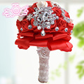red brooch bouquet bride holding flowers wedding decoration items mini Bride 's Bouquet Bridesmaid Flower