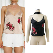 2017 Summer Women Vintage Tops Black Embroidered Rose Patch Sexy Cami Tops With Neck Tie V Neck Satin Camisole