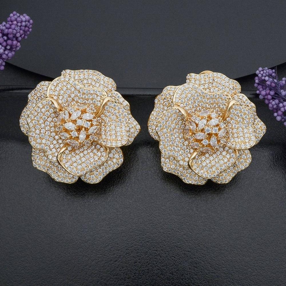 ModemAngel Delicate Flower Cubic Zirconia Copper Fashion Earring Women Engagement Wedding Party Bridal Body Jewelry