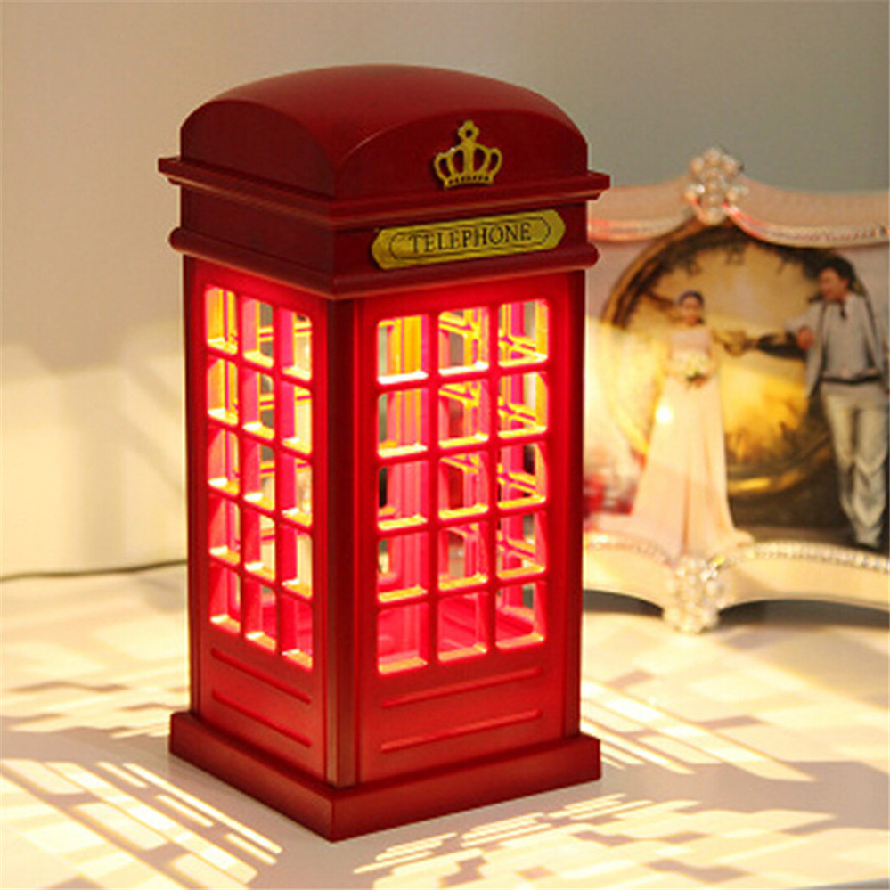 Hot Sale Justerbar Retro London Telefonboks Nattlys USB-batteri LED-nattbordslampe med dobbelt bruk