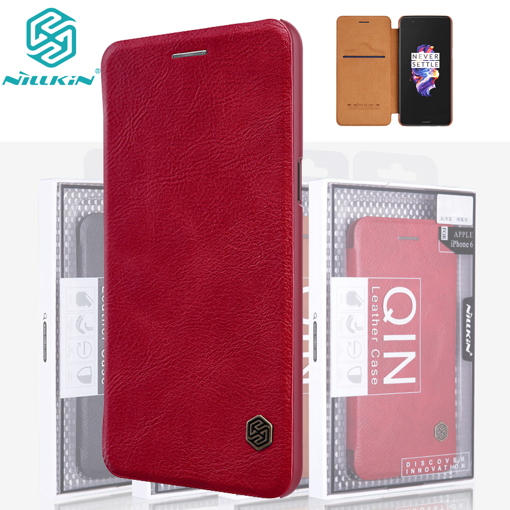 Nillkin Qin Book Flip Leather Case Cover For Oneplus 5 Genuine Real Smart Sleep Function ...