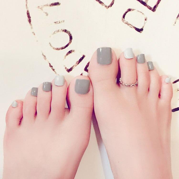 On Sale 24 pcs Solid Milk Grey Toe Fake Nails White Short Full Round ...