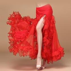 Новые поступления 5 цветов живота Одежда для танцев полный круг Длинные Талия Макси юбка сбоку Разделение Для женщин шифон юбки для танца