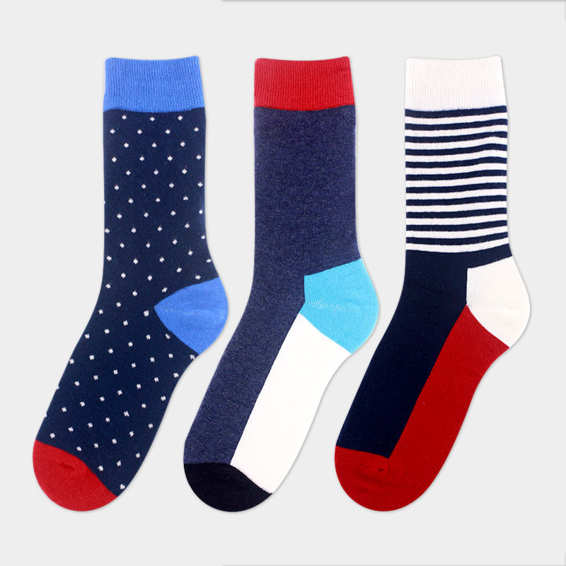 4 pairs /lot 2017 new men socks Spring/autumn Splicing color Dress sock for men cotton British style mens socks