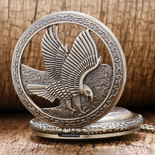 Vinage Bronze Hollow Eagle design pocket Watch Necklace Ladies Necklace Pendant Watch Quartz Clock