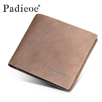 Padieoe Top Genuine Leather Soft Wallet Famous Brand Men Business Wallet Casual Card Holder Hot Sale Vintage Fashion Purse Male